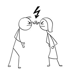 cartoon of man and woman in fight anger with vector image vector image