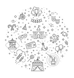 circus outline icons collection set festival vector image