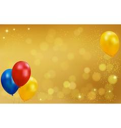 Holiday gold background with balloons vector image vector image