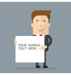 A businessman or manager shows at the poster where vector image vector image
