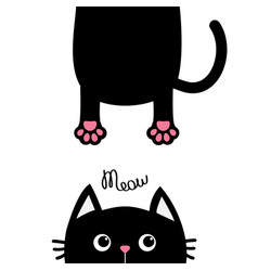 black cat funny face head silhouette meow text vector image vector image