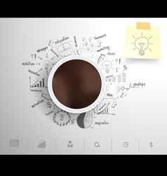 Coffee cup on drawing business strategy vector image vector image
