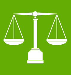 justice scale icon green vector image vector image