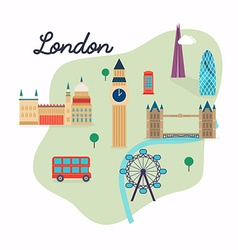 London Travel map and landscape of buildings and vector image vector image