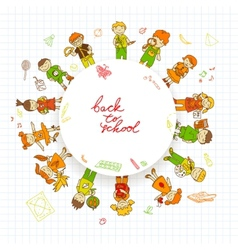 Round banner with kids vector image