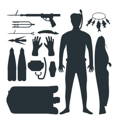 Spearfishing silhouette set vector image
