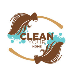 clean your home logotype with two brown brooms vector image