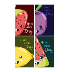 have a nice day cards with fruits cartoon vector image