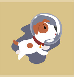 jack russell puppy astronaut character flying in vector image vector image