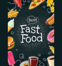 Poster fast food color flat vector
