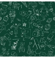 School kids doodle sketch seamless vector image vector image