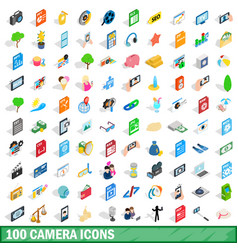 100 camera icons set isometric 3d style vector image