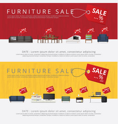 2 banner furniture sale advertisement flayers vector
