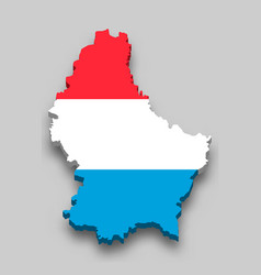 3d isometric map luxembourg with national flag vector