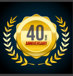 40 years anniversary gold and red badge logo vector image
