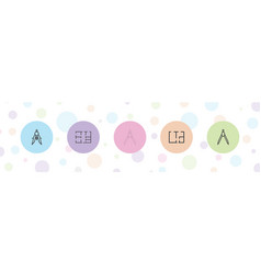 5 architect icons vector