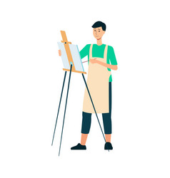 a man brunet painter and artist in an apron draws vector image