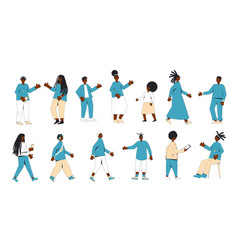 African american teenagers set isolated vector