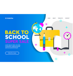 back to school sale concept landing page for vector image