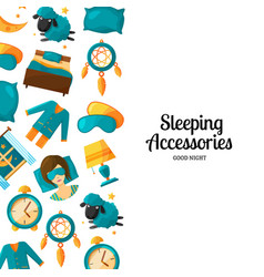 background with cartoon sleep elements and vector image