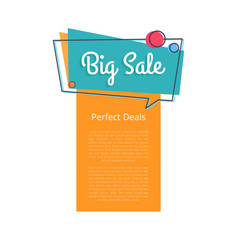 big sale perfect deals promotional banner text vector image