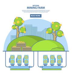 Bitcoin mining farm concept in vector