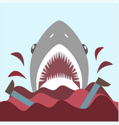 bloody shark with open mouth on the red waves vector image