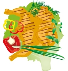 Bright juicy grilled chicken on a lettuce leaf vector