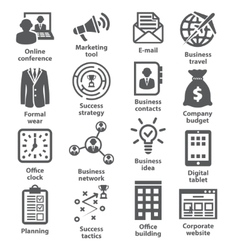 Business management icons Pack 12 vector image