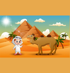 caravans is herding camels in the desert vector image