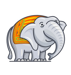 Cartoon cute gray elephant vector
