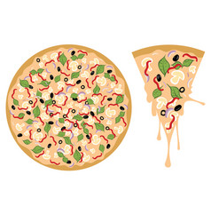 Cartoon tasty pizza vector