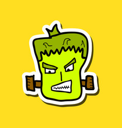 Cartoon zombie head with gradients vector