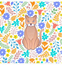 cat and flowers vector image