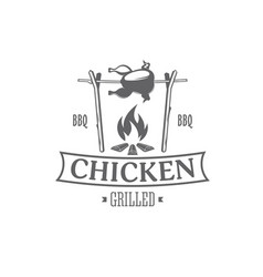 chicken grill emblem vector image