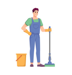 Cleaner staff man with mop and bucket vector