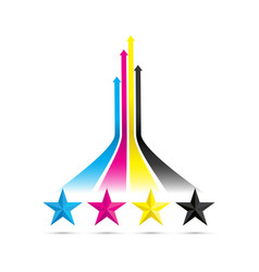 cmyk arrow stars vector image