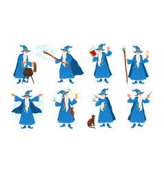 Collection of old wizard making magic isolated on vector