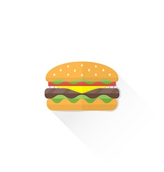 color fast food hamburger icon vector image