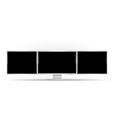 computer with three monitors template vector image