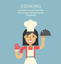Cooking Concept Female Cartoon Character Standing vector image