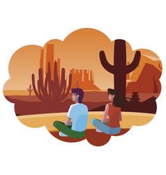Couple contemplating horizon in desert scene vector