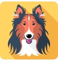 dog Rough collie icon flat design vector image
