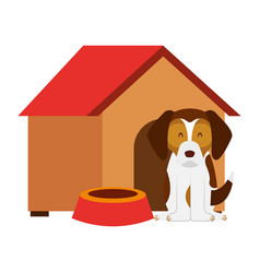 Dog wooden house bowl vector