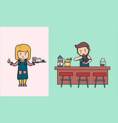 doodle hand drawn barista pouring latte art in vector image