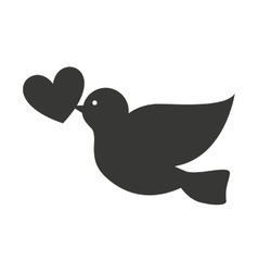 Dove with heart isolated icon design vector