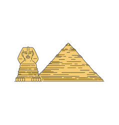 egyptian pyramid and sphinx landmarks sketch vector image