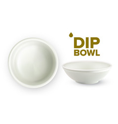 empty white ceramic dip bowl for sauces vector image