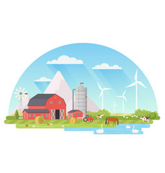 farm rural landscape agriculture and farming vector image