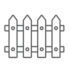 fence thin line icon wooden and architecture vector image